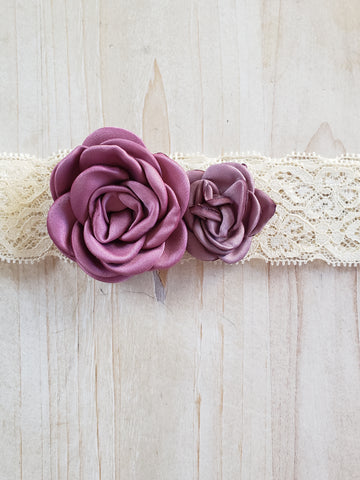 Lace Infant Headband- Mauve Flowers