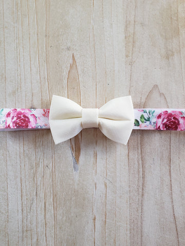 Infant stretch Headband- White Floral Bow