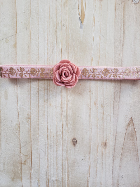 Infant Stretch Headband- Peach and Gold