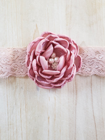 Lace Infant Headband- Mauve