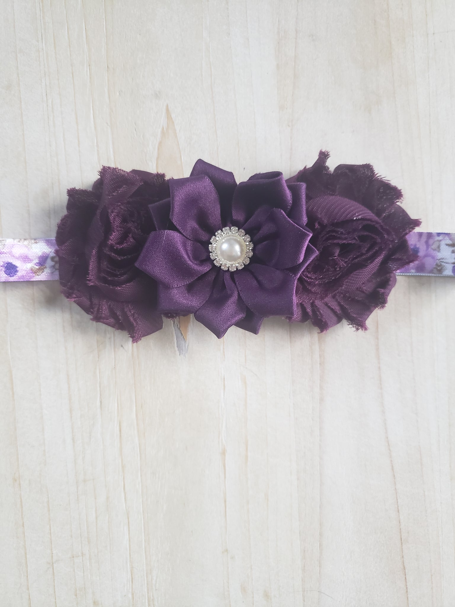 Toddler Floral Headband- Deep Purple
