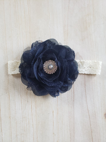 Infant Headband- Navy Floral