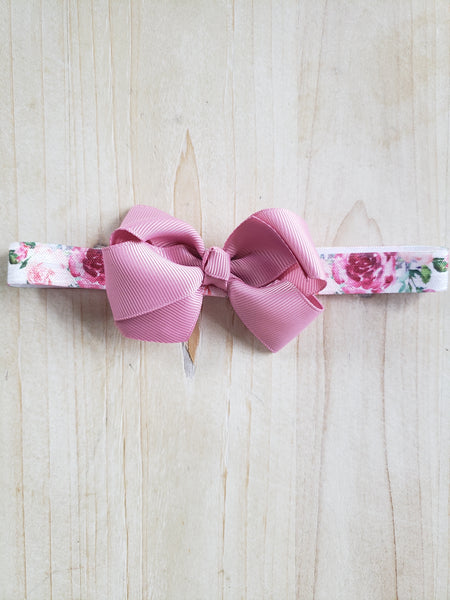 Girlie Mauve Floral Headband- Bow