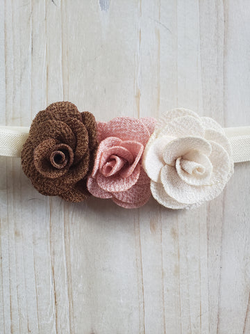Infant Headband- Tri Floral Quilted