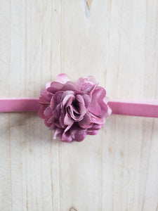 Infant Headband-Mauve Puffed Floral.