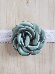 Toddler Headband-Lace Turquoise Floral