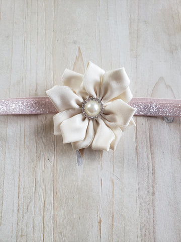 Child Headband- White Floral