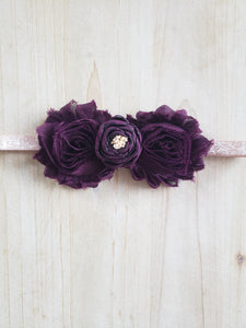 Toddler Headband- Plum Glitter