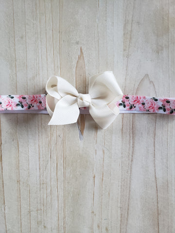 Infant Headband- White Bowed
