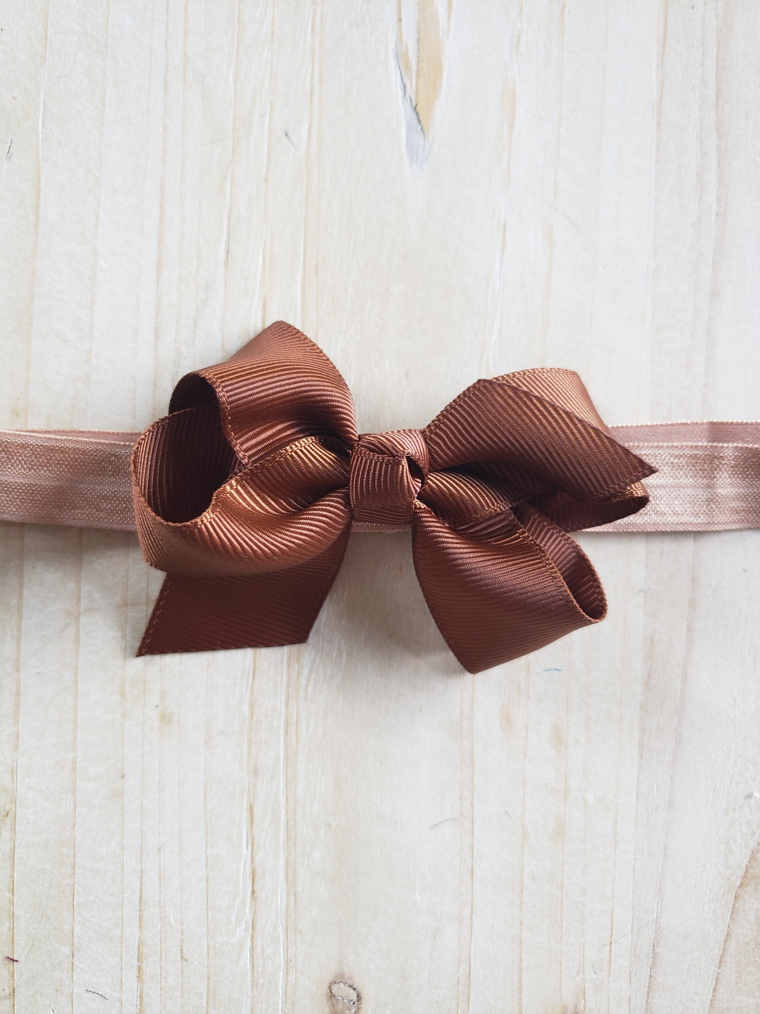 Toddler Stretch Headband- Brown Bowed