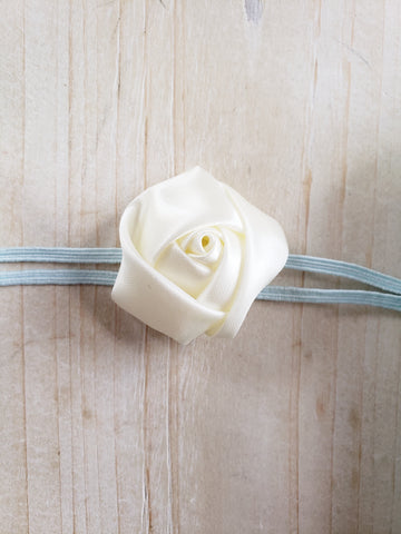 Newborn + Headband- White Rose