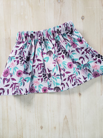 Spring Floral Skirt in Lilac
