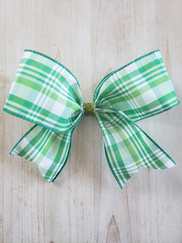 Plaid St. Patrick's Day Bow