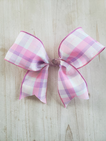 Pink Plaid Spring Bow