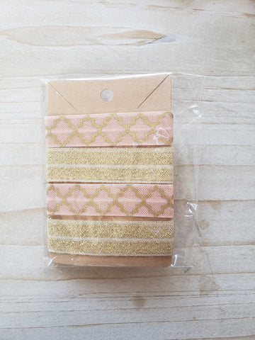 Handmade Hair Ties- Pale Pink & Gold