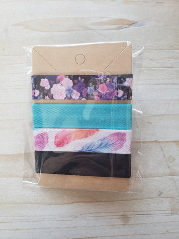 Handmade Hair Ties- Feather & Teal