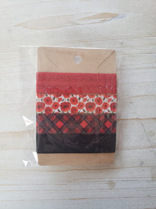 Handmade Hair Ties- Red Plaid & Poppies
