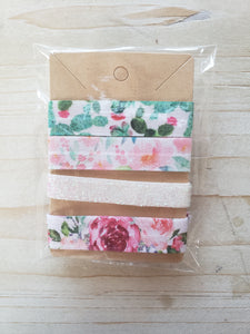 Handmade Hair Ties- Floral Sequins