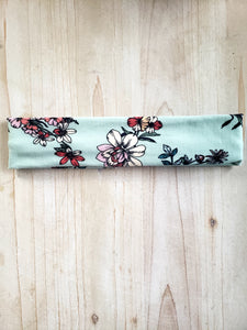 Light Green Floral Brushed Cotton Headband