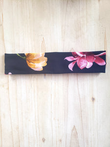 Navy Floral Brushed Cotton Adult Headband