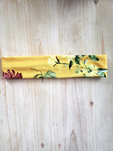 Yellow Floral Brushed Cotton Headband