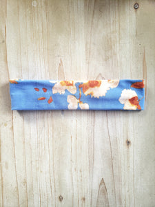 Stretchy Brushed Cotton Pale Blue Adult Headband