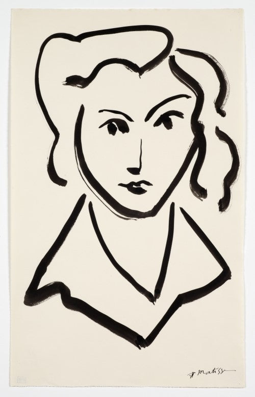 Drawing, Head of Woman, 1945, image via Detroit Art Review