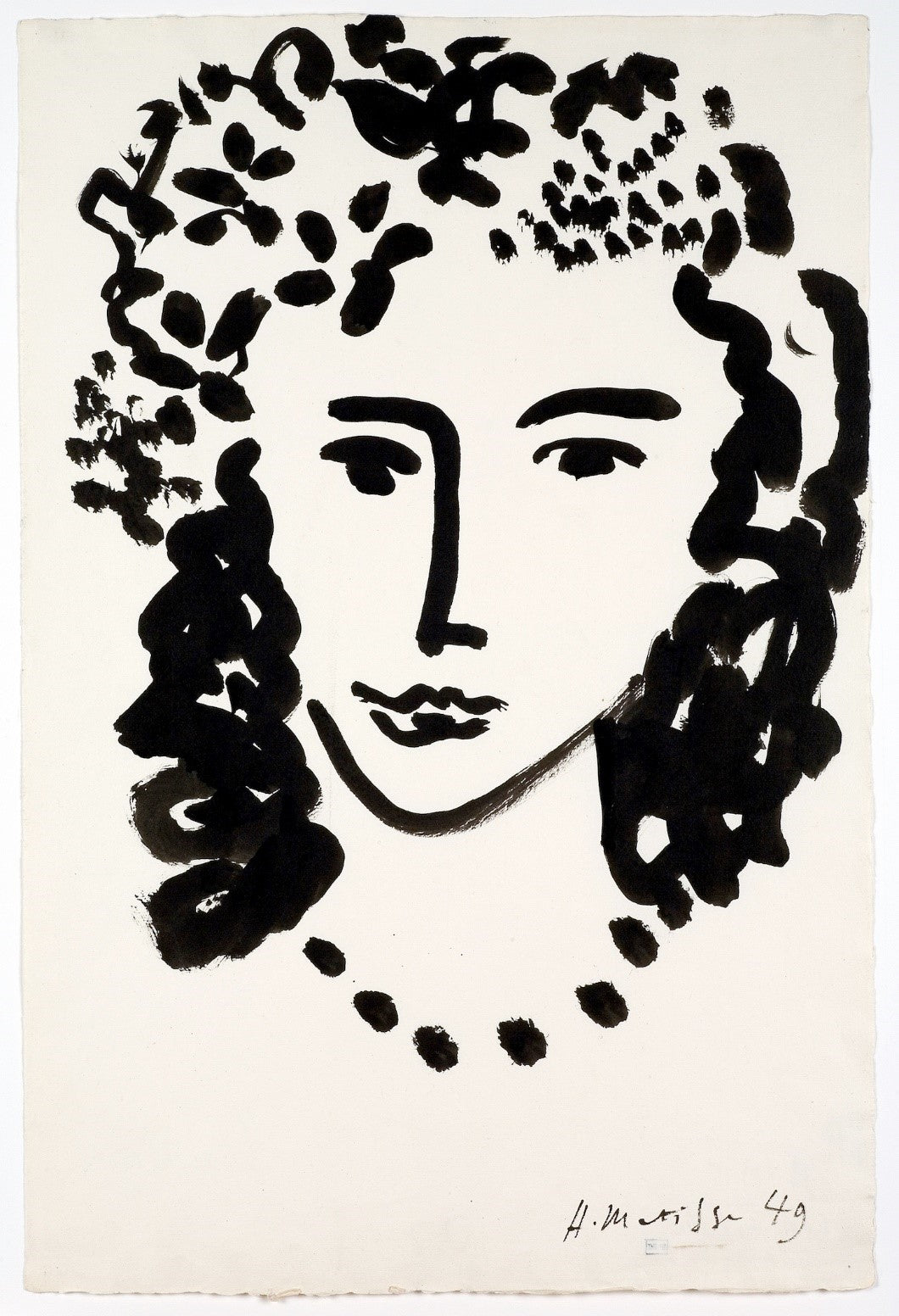 Drawing, Large Head, 1949, image via Detroit Art Review