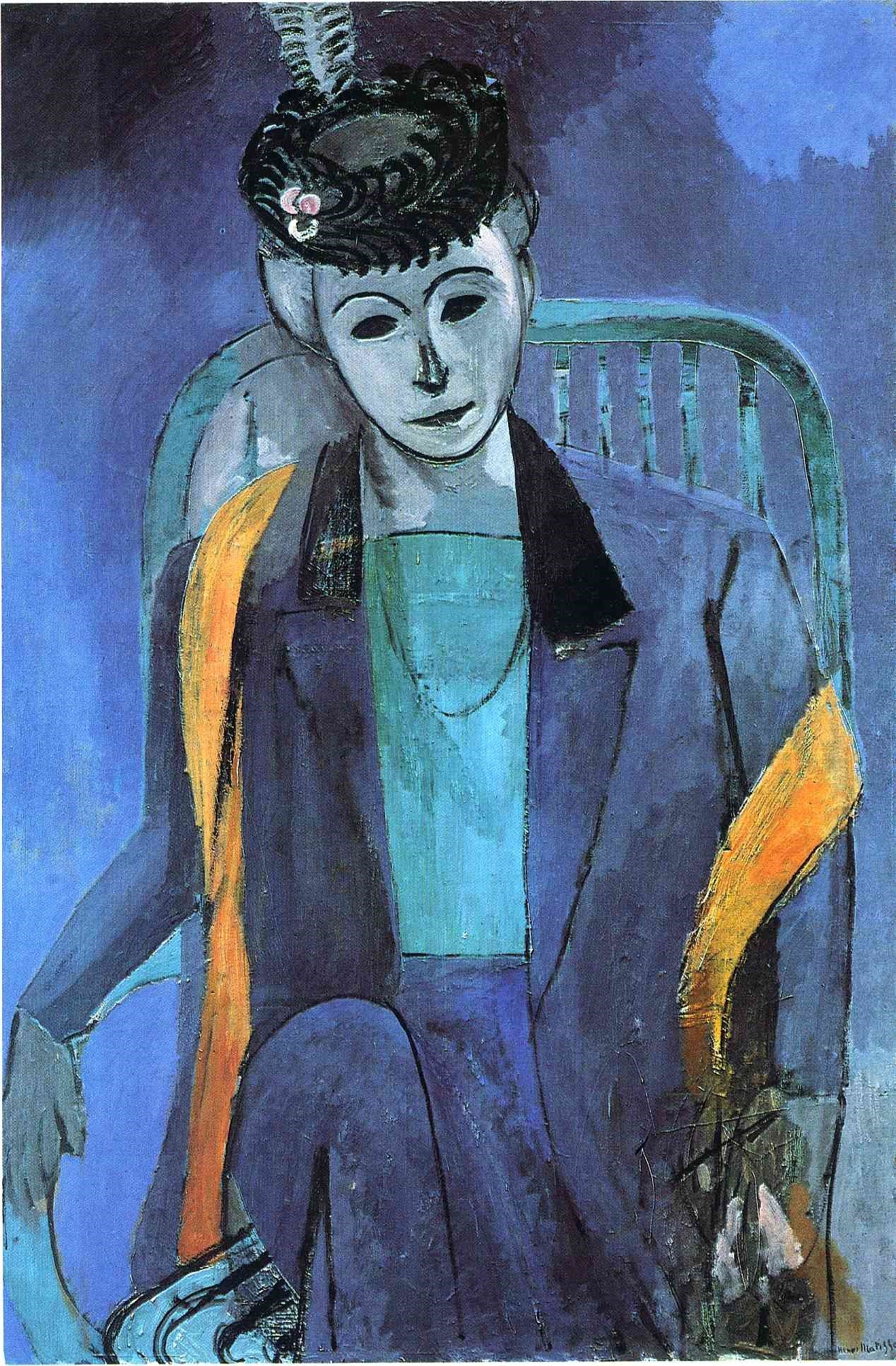 Portrait of Madame Matisse, 1913, image via Aesthetic Realism Foundation
