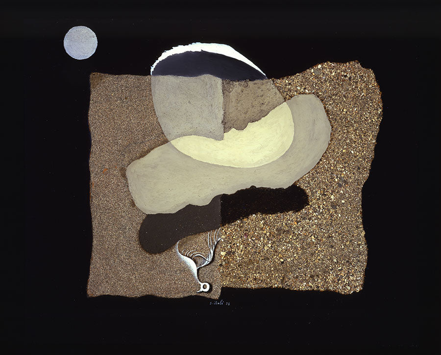 Salvador Dalí, Big Thumb, Beach, Moon and Decaying Bird, 1928, oil, sand and gravel on panel. Courtesy: Collection of The Dalí Museum, St. Petersburg, FL © Salvador Dali / VISDA 2018, image via Frieze Magazine