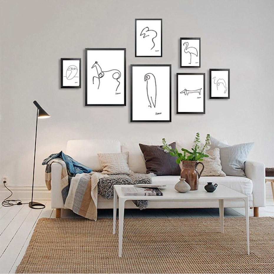 Pablo Picasso 'Animal Sketches' series prints in situ, by Illus Prints