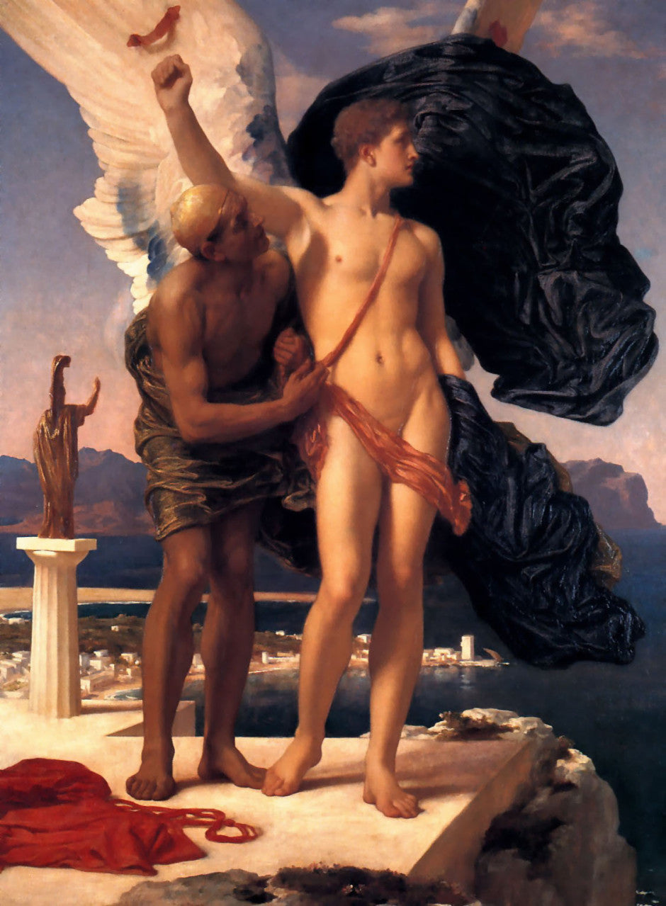 Frederic, Lord Leighton, Icarus and Daedalus, 1869, Private collection. Image via Wikimedia Commons.