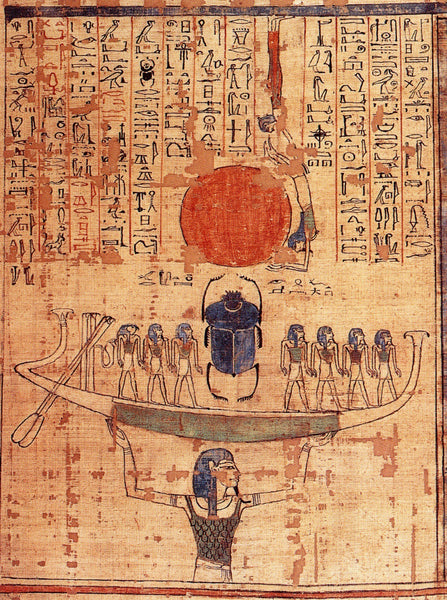 Nun, Egyptian god of the waters of chaos, lifts the barque of the sun god Ra (represented by both the scarab and the orange sun disk) into the sky at the beginning of time. Image via Paul Humphries