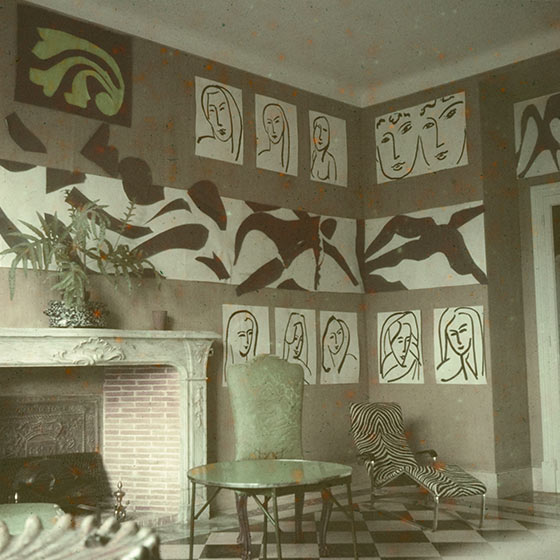 Henri Matisse, The Swimming Pool, installation view in his Nice apartment, 1952, image via The Museum of Modern Art, New York