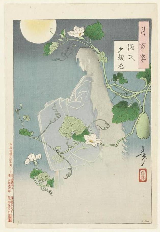 Tsukioka Yoshitoshi, The Yûgao Chapter from The Tale of Genji, in One Hundred Aspects of the Moon, 1886, image via The Standard