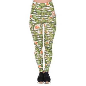 Green Avocado Printing High Waist Women Leggings
