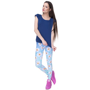 Daisy Blue Ombre Printing High Waist Women Leggings