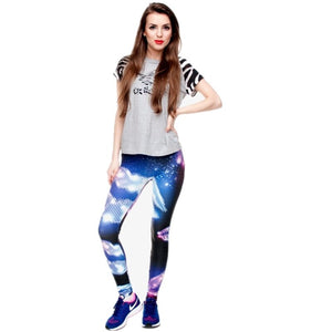 Purple Stars 3D Graphic Printing High Waist Women Leggings