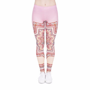 Mandala Pink Star Printing High Waist Women Leggings
