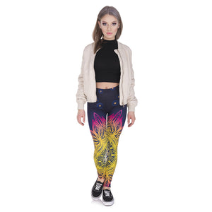 Mandala Lights 3D Printing High Waist Women Leggings
