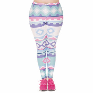 Aztec Green Printing Plus Size Women Leggings