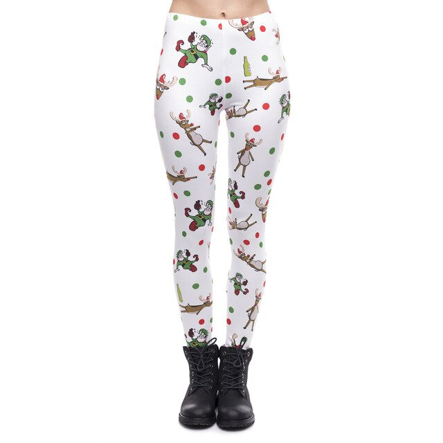 Christmas Party Printing High Waist Women Leggings