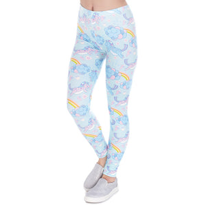 Unicorn Clouds Printing High Waist Women Leggings