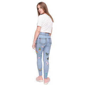 Light Blue Jeans With Patches Printing High Waist Women Leggings