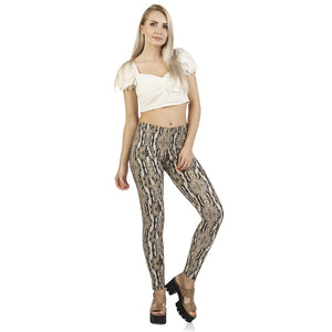 Python Snake Skin Printing High Waist Women Leggings