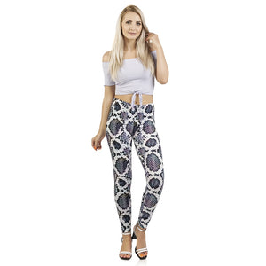 Iridescent Snake skin Printing High Waist Women Leggings
