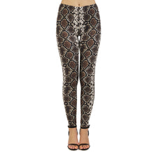 Load image into Gallery viewer, Brown Snake Skin Printing High Waist Women Leggings