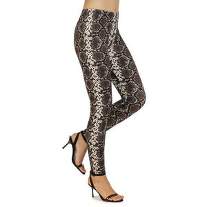 Brown Snake Skin Printing High Waist Women Leggings