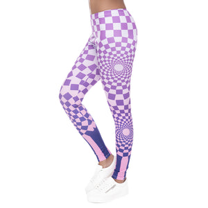 Hypnotic Grids Printing High Waist Women Leggings