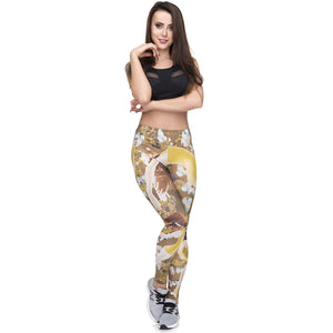 Dance Yellow Printing High Waist Women Leggings